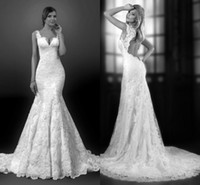 classic wedding dress - Classic Lace Mermaid Wedding Dresses Bridal Gowns Tiered Appliques Romantic Sweep Train Backless Wedding Gowns Sexy With Cap Sash
