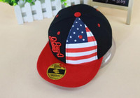 Wholesale NY US FLag Pattern Hat For Children Fashion Hiphop Caps Boy And Girl Street Hats Mix Colors