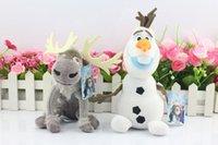 Wholesale 2pcs Frozen Dolls Olaf Reindeer Sven Plush Toys Doll Snowman Stuffed Baby Children Gift