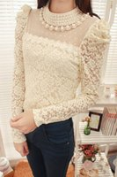Wholesale Lace Collared Long Sleeve Blouse - Fashion Blouses Lace Blouse Ladies' Blouses Lace Blouses Pearl Blouse Black White Beige Lady Tops