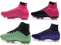 football training - 2015 new ACC Mercurial Superfly FG Leather FG Soccer Shoes Soccer Cleats Football boots turf shoes Discount Cheap Training Sneakers shoes