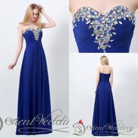 beautiful prom dresses - 2015 Latest Beautiful Real Pictures Sweetheart Crystal Strapless Chiffon Royal Blue Straight Long Evening Party Prom Dresses
