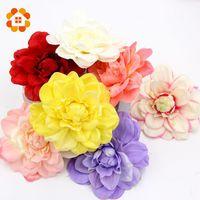 Wholesale 5pcs Large Silk Dahlia Handmake Artificial Flower Head Wedding Decoration DIY Wreath Gift Box Scrapbooking Craft Fake Flower