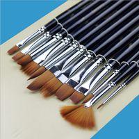 Wholesale 12pcs Set Nylon Hair Acrylic Paint Brush Set Filbert Head Wooden Handle Artists Gouache Watercolor Paint Brushes Art Supplies