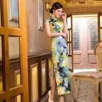 Wholesale Hot Lotus Peony Plum Blossom Rose flower style Vintage Cheongsams Chinese silk Qipao Plus Size Chinese Traditional Dress