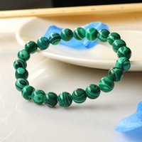 Wholesale Fashion Statement natural stone Malachite MM round bead bracelet bangle semi precious stone jewelry For women men