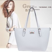 Wholesale High Quality Big Capacity Shoulder Tote Leather Bags for Women with Plain Solid Color Handbag One Shoulder Bags