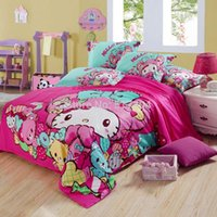Wholesale Pink hello kitty bed set for girls TC bedding sets without filler king hello kitty bedding sets kids bed sheet hello kitty