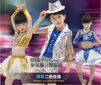 Wholesale Children s stage wear Short paragraph sets of modern hip hop jazz dance performance clothing boys and girls performance Sequin clothing