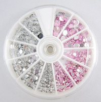 Good beauty color wheel - 3pcs White And Pink Color Nail Art Acrylic Rhinestones With Wheel Nail Beauty DIY Round Shape High Quality
