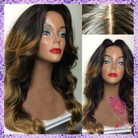 Wholesale Beautiful Fashion wig two tone color real hair wig ombre Glueless Lace Front Wig Full Lace Wig