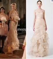 best dress celebrity - Best Selling One Shoulder Organza Ruffle Mermaid Style Blake Lively Bridesmaid Dress Blush Wedding Evening Gowns Prom Celebrity Dress