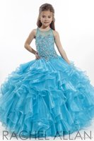 beads on ribbon - 2016 flower girls dresses Perfect Angel ball gown organza Full beaded on bodice with sheer neck girls pageant Gowns