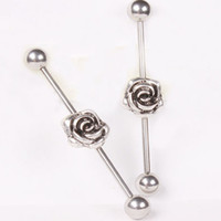 Tongue Rings Stainless Steel Unisex JK Ear Piercing 316L Stainless Steel Rose Long Industrial Barbell Earring Tragus Fake Ear Stud Body Chain Ear Jewelry