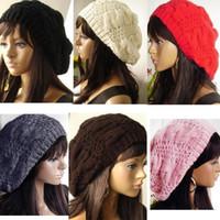 beret knit hat pattern - NEW Fashion Hats For Women Design Caps Women Winter Hat Knitted Chapeu Feminino Twist Pattern free shiping gj2515
