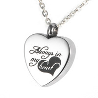 animal urns - Lily Urn Pendant quot Always in My Heart quot Heart Premium Stainless Steel Necklace for cremation ashes with gift bag and chain