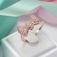 Cheap Korean Fahion Personality Female Cute high-end zircon micro inlay crystal bow rings full of CZ diamond copper 18k gold plated