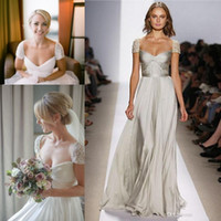 Wholesale Charming Cap Wedding Dresses Front Slit Strapless Knot Shirred Beading Short Sleeve Draped Aline Satin Wasit Celebrity Party Prom Dress Gown