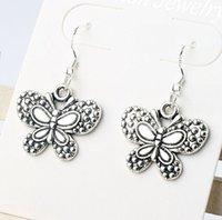 big butterfly earrings - 2016 hot MIC x24MM Antique Silver Dots Big Papilio Butterfly Charm Pendant Earrings Silver Fish Ear Hook E1124