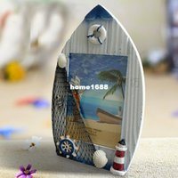beach photo frames - Free shiiping Sailing boat photo frame Mediterranean Style solid wood frame beach photo frame crafts Gift