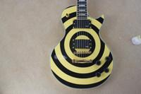 achat en gros de guitares zakk wylde-L'arrivée de nouveaux Hot vente Top Qulity Custom Shop Zakk Wylde Bullseye Noir Jaune EMG Pickups LP Guitare électrique