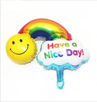 alluminum foil - Free Ship small rainbow Smile Promotion Toy Foil Balloons Party Decoration Alluminum Balloons