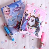 Wholesale Hot Selling Cartoon Frozen Princess Elsa Anna Sofia Diary Note Book Writing Books Ice Snow Queen Stationery Learning Write Gift Pen J1458