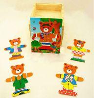 achat en gros de robe ours en bois-En gros-One Bear en bois Dress Up Ours Family Dress-Up Puzzle