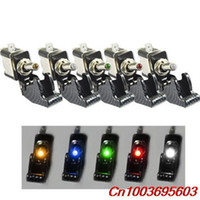 Wholesale Blue Red Green Yellow White to choose V Carbon Fiber LED Rocker Toggle Switch SPST ON OFF Car
