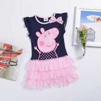 layer cake - New kids clothing cute children s clothes lace short sleeved girls dress peppa lace layer cake skirts bow princess baby for tees wear
