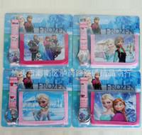 Wholesale HOT New Frozen Anna Elsa Sets Watch and Wallet Purse Kids Fashion Quartz Cartoon Candy Cute Lovely Boy Girl Woman Lady Children Watch