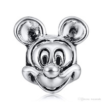 Silver mouse animal - New Mickey Mouse Charm Sterling Silver Jewelry European Charms Floating Beads Fit DIY Snake Chain Bracelets