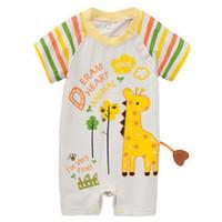 Bébé Romper avec la queue éléphant de bande dessinée Girafe à manches courtes Vêtements pour bébé Baby Boy Summer Girl Vêtements Roupa De Bebe