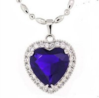 heart of the ocean - 001 Heart of The Ocean Lady s Silver Sapphire CZ Diamonique Pendant Love Gift
