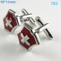 Wholesale Red Crusader Engraved Cufflinks Silver Plated Cuff Links Men Shirt Accessories cf991294