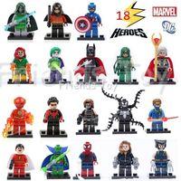 Wholesale 18 Characters Marvel DC Super Heroes Batman The Avengers Figure Building Blocks Brick Minifigure Toys Gift Decool
