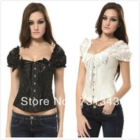 Cheap Wholesale-Free Shipping! Full Spiral steel boned Lace up back brocade Corset tops with shoulder strap ,S-2XL A1216