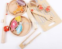 barbecue sets - Fishing honestly barbecue luxurious three sets of wooden fishing rod can rotate baby toys likes fishing