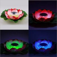 Wholesale Diameter of CM Solar Power Colorful Changed LED Lotus Lamp Garden Pool Water Floating Night Light For Wedding Party Decoration