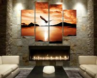Wholesale 100 Artist Handcraft animal oil painting on canvas No frame Flying eagle PC