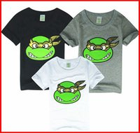 Wholesale Cool Cartoon Shirts - 5PCS Lot 2016 NEW Summer Boys teenage mutant ninja turtles t-shirts cool boys short sleeved cartoon t-shirts tops tees 3color choose 2-7year