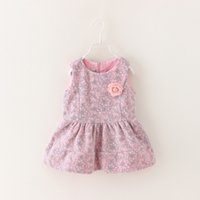 Cheap Toddler Baby Girls Flower Dress Casual Solid Autumn 2014 Floral Print Zipper Style Fashion Kids Wears Children Clothing6pcs LOT