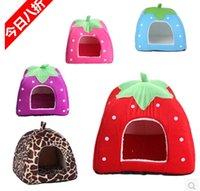 Wholesale New Cute Lovely Soft Super Cool Sponge Strawberry Pet Dog Cat House Bed Pc Size S