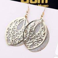 antique copper hoop earrings - European and American style fashion antique copper hollow pattern earrings frosted disc earrings women