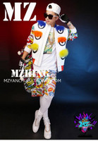 Wholesale Male singer clubs in Europe and the runway looks little fox fur monster eyes graffiti coat leather costumes S xl