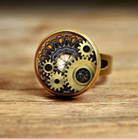 cogs - RC108 New Photo Glass Cabochon Steampunk ring Vintage Bronze Compass Gears Cog glass Jewelry