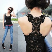 Wholesale Women s Sexy Lace Flower Tank Top Sexy Cami Sleeveless Casual Cotton T Shirt