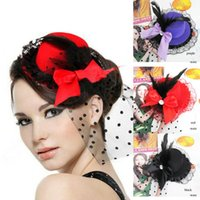 Wholesale Cheap Fashion Red Purple Black Formal Party Cocktail Women Bow Feather Hair Clip Headwear Mini Top Hat Cap Fascinator Hair Accessories