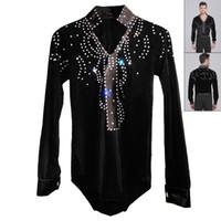 ballroom latin shirts - 2015 Men Boy Latin Dance Dress Ballroom Dance Tops High Grade Velvet Drill Latin Dance Shirt Long Sleeve Dancewear Shirts DQ6031