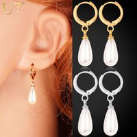 White women earrings lot - Real K Gold Plated Water Drop Pearl Beads Clip Earrings High Quality Fashion Jewelry For Women YE1286